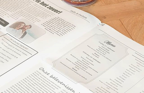 create a newspaper as menu for your wedding