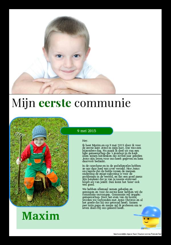 Maak je eigen krant sjabloon bedanking communie | Happiedays